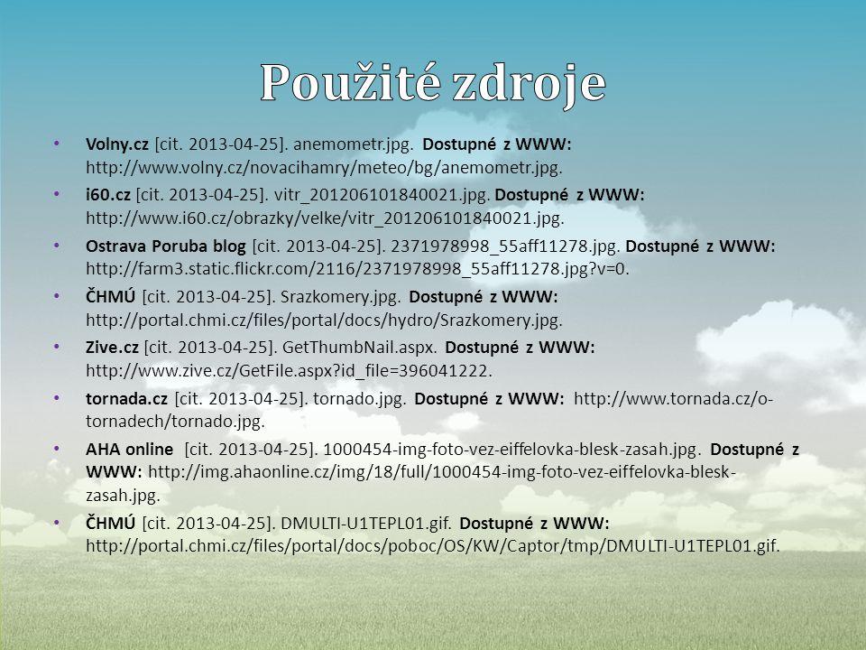 Použité zdroje Volny.cz [cit. 2013-04-25]. anemometr.jpg. Dostupné z WWW: http://www.volny.cz/novacihamry/meteo/bg/anemometr.jpg.